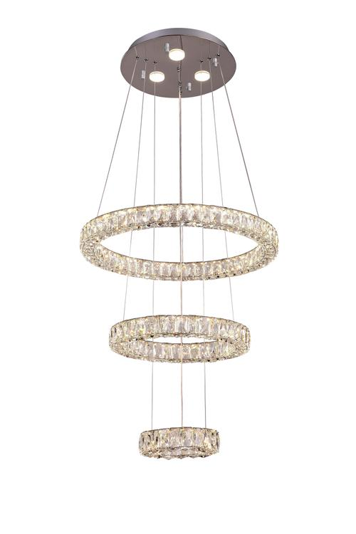 Bethel a Triple Halo Clear Crystal Ring LED Chandelier