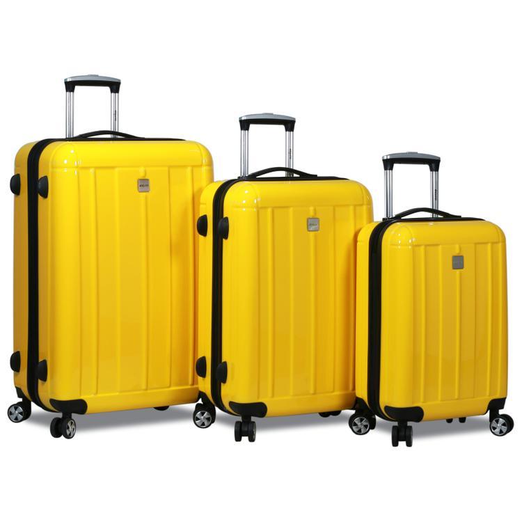 Dejuno Contour 3-Piece Hardside Spinner TSA Lock Luggage Set - Yellow