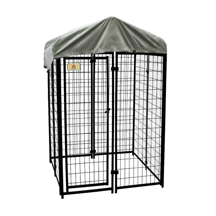 KennelMaster 4 ft x 4 ft x 6 ft Black Viny Coated Welded Wire Boxed Kennel Kit