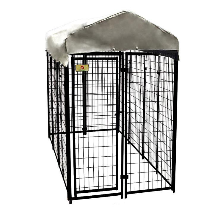 KennelMaster 8 ft x 4 ft x 6 ft Black Vinyl Coated Welded Wire Boxed Kennel Kit