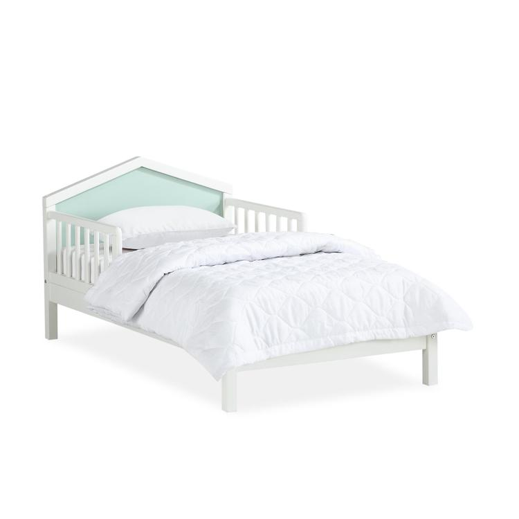 Novogratz Albie A-Frame Toddler Bed with Reversible Headboard, White, Mint Green
