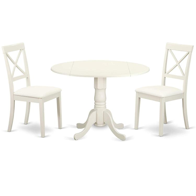 DLBO3-LWH-LC 3 PC Dublin kitchen Set-Dining table and 2 faux leather seat kitchen chairs
