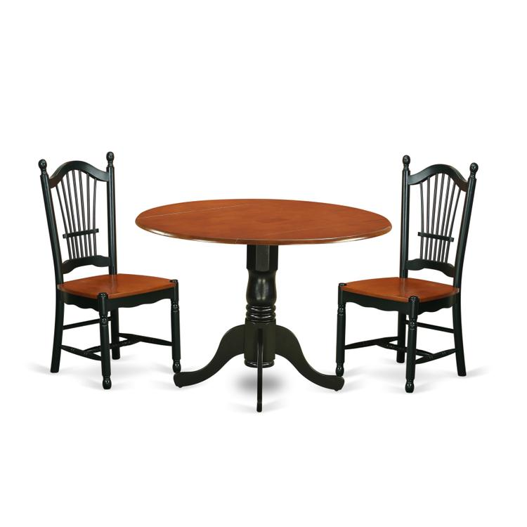 East West Furniture DLDO3-BCH-W 3 PC Dublin kitchen table set-Dining table and 2 wood seat kitchen chairs