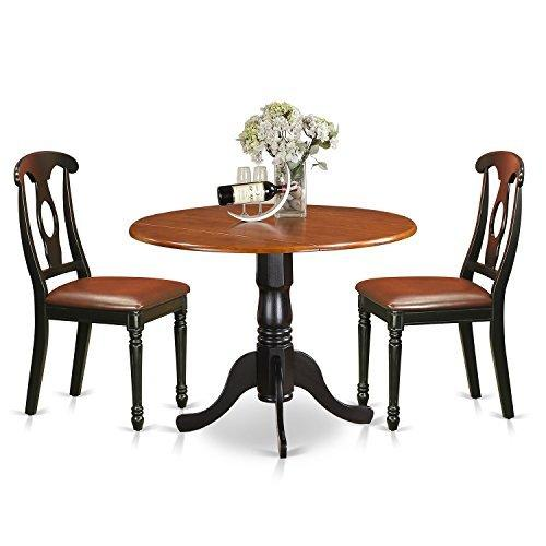 East West Furniture 3-Piece Kitchen Table Set - [DLKE3-BMK-W]