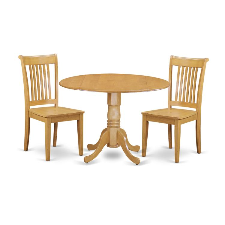 East West Furniture DLPO3-OAK-W 3 PC Dublin kitchen table set-Dining table and 2 Wood Seat Kitchen chairs [Item # DLPO3-OAK-W]
