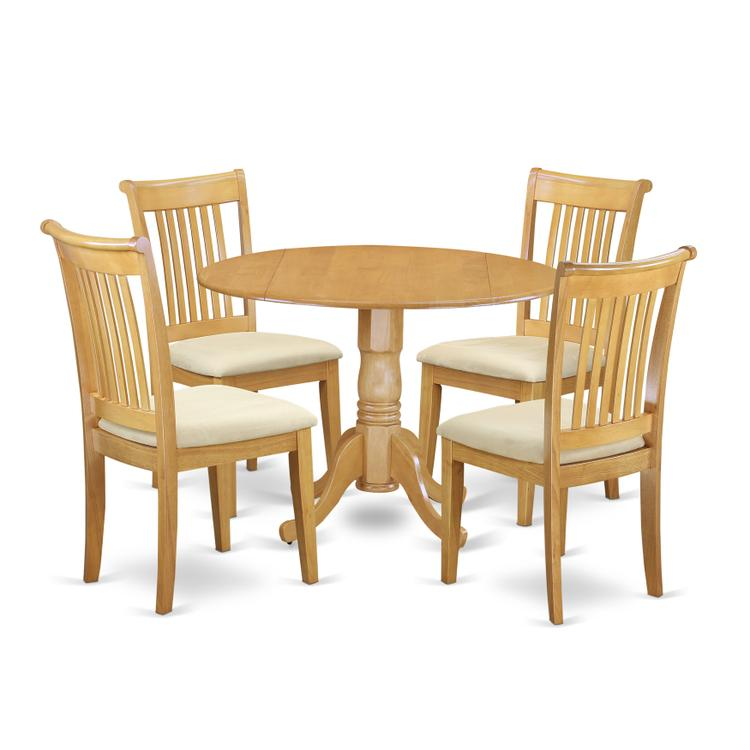 East West Furniture DLPO5-OAK-C 5 PC Dublin kitchen table set-Dining table and 4 cushion Kitchen chairs [Item # DLPO5-OAK-C]