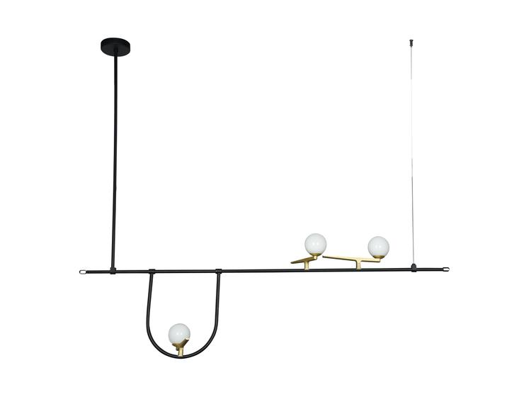 Bethel Metal Frame Ceiling Fixture With Gold Hardware Accents And White Glass Globe Shades