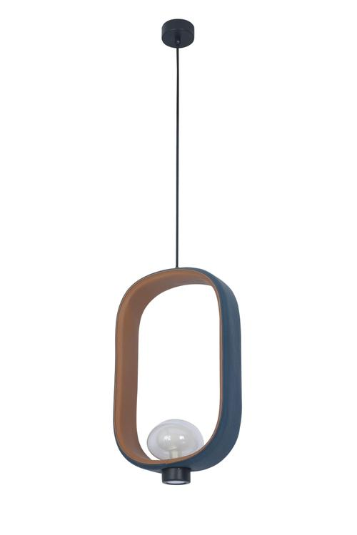 Bethel Deep Blue Exterior And Brown Interior Leather Frame Single Pendant With Glass Shade