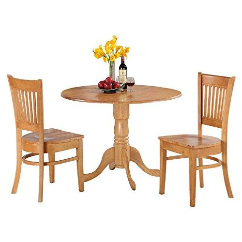 East West Furniture 3-Pc Kitchen Nook Dining Table Set - [DLVA3-OAK-C]