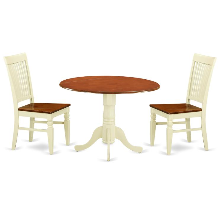 East West Furniture DLWE3-BMK-W 3 Pc Kitchen table set with a Dining Table and 2 Wood Seat Dining Chairs in Buttermilk and Cherry [Item # DLWE3-BMK-W]