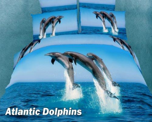 King Size Duvet Cover Sheets Set, Atlantic Dolphins