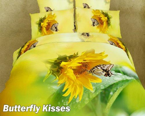 Twin Size Duvet Cover Sheets Set, Butterfly Kisses