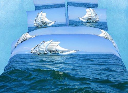 Queen Size Duvet Cover Sheets Set, Bon Voyage