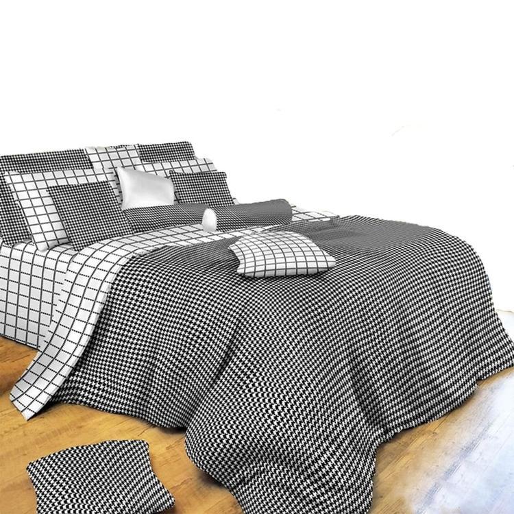 Duvet Cover Sheets Set, Black & White Check