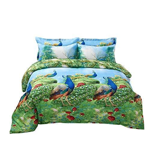 Duvet Cover Set, King size Pictorial Bedding, Dolce Mela - Peafowl DM704K