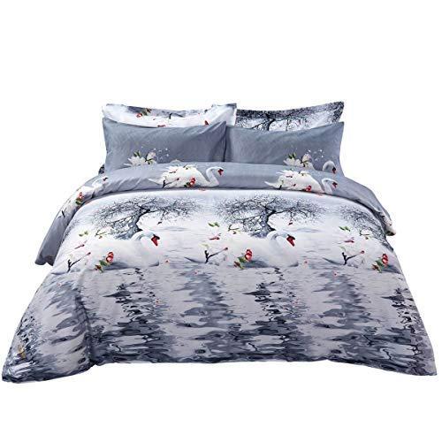 Duvet Cover Set, King size Pictorial Bedding, Dolce Mela - Mute Swan DM705K