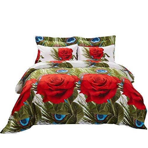 Duvet Cover Set, Queen size Floral Bedding, Dolce Mela - Romeo DM711Q