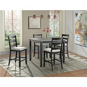 Picket House Furnishings Kona Gray 5PC Counter Height Dining Set-Table & Four Chairs