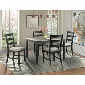 Picket House Furnishings Kona Gray 5PC Dining Set-Table & Four Chairs