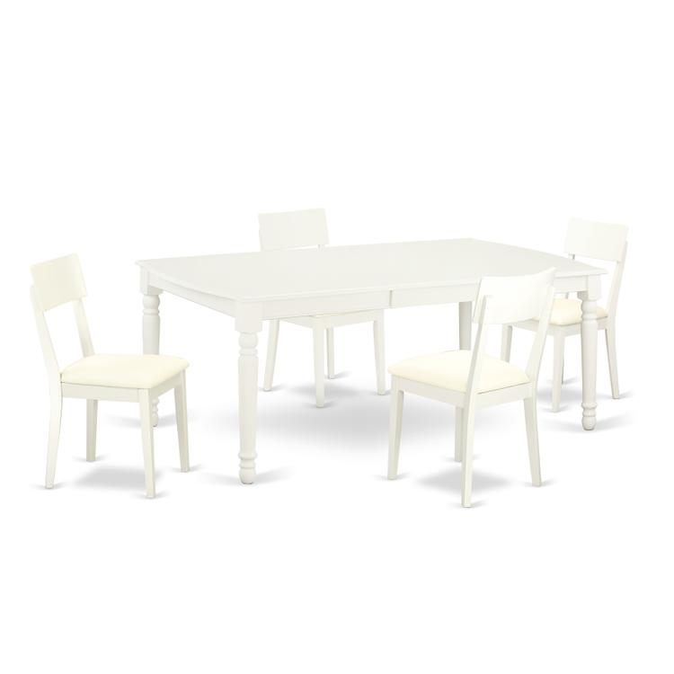 East West Furniture DOAD5-LWH-LC 5 PC kitchen tables and chair set with one Dover dining table and 4 kitchen chairs in a Linen White Finish