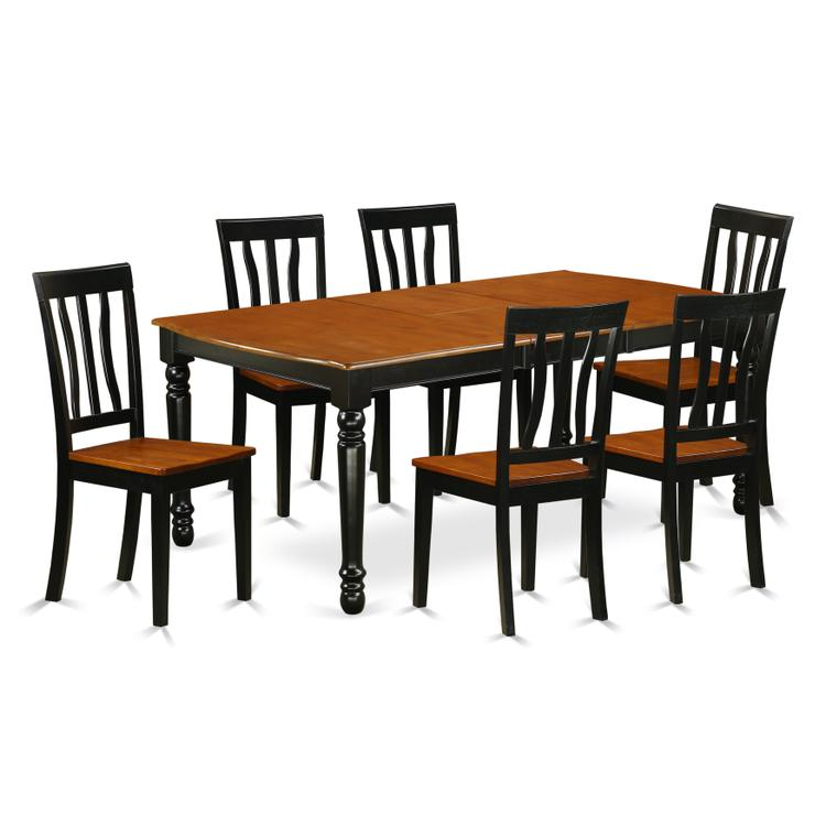 East West Furniture DOAN7-BCH-W 7-Piece table and chair set with one Dover dining room table and 6 dining room chairs in a Black and Cherry Finish [Item # DOAN7-BCH-W]