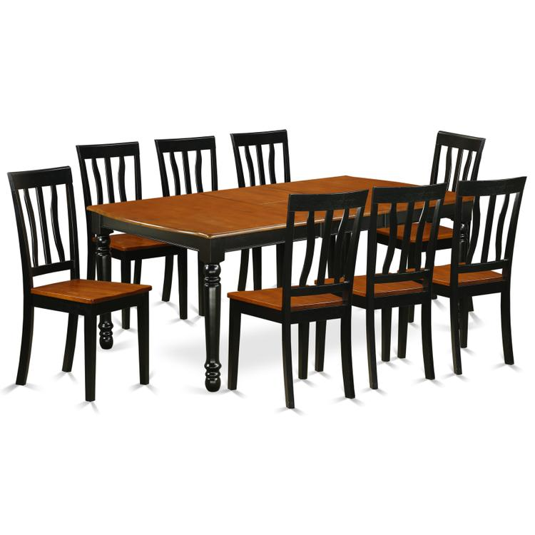 East West Furniture DOAN9-BCH-W 9 PC kitchen tables and chair set with one Dover dining table and 8 kitchen chairs in a Black and Cherry Finish [Item # DOAN9-BCH-W]
