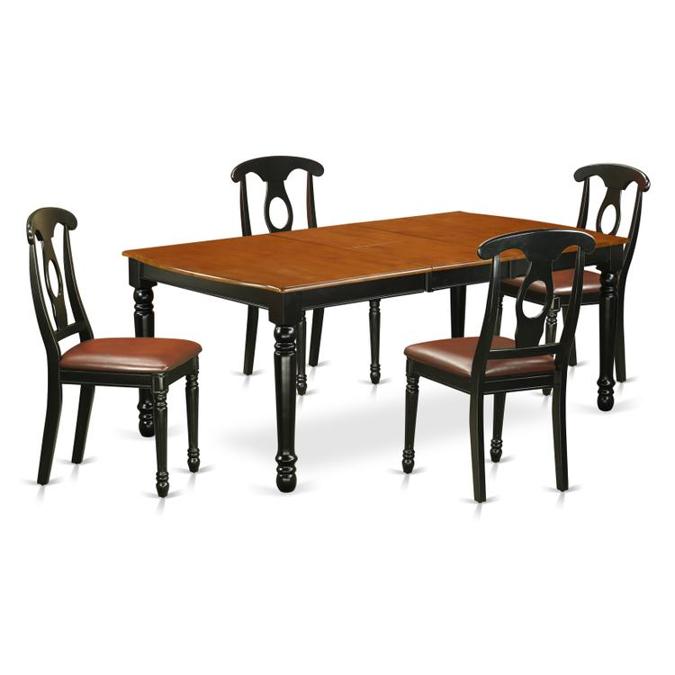 East West Furniture DOKE5-BCH-LC 5 PC kitchen tables and chair set with one  Dover dining table and 4 kitchen chairs in a Black and Cherry Finish, Faux  ...