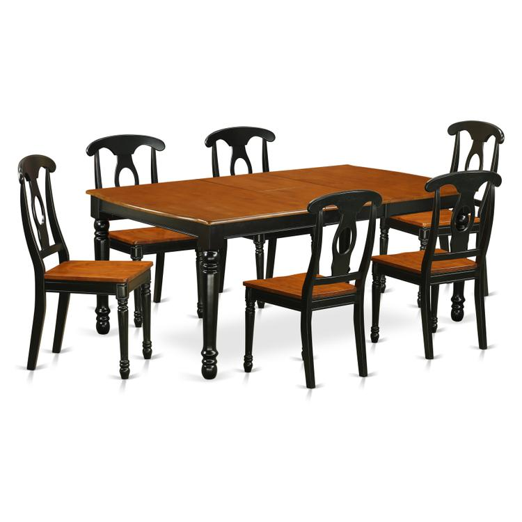 East West Furniture DOKE7-BCH-W 7-Piece table and chair set with one Dover dining room table and 6 dining room chairs in a Black and Cherry Finish [Item # DOKE7-BCH-W]