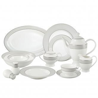 La Luna Collection Bone China 57 Piece Silver Border and Trim Dinnerware Set, Service for 8 by Lorren Home Trends.