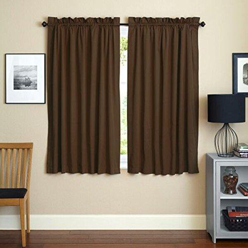 Blazing Needles 63-inch by 52-inch Twill Insulated Blackout Two-Tone Reversible Curtain Panels (Set of 2)