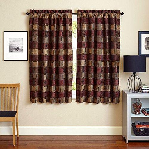Blazing Needles 63-inch by 52-inch Patterned Jacquard Chenille Curtain Panels (Set of 2)