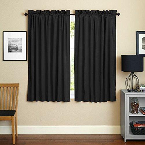Blazing Needles 63-inch by 52-inch Twill Curtain Panels (Set of 2)