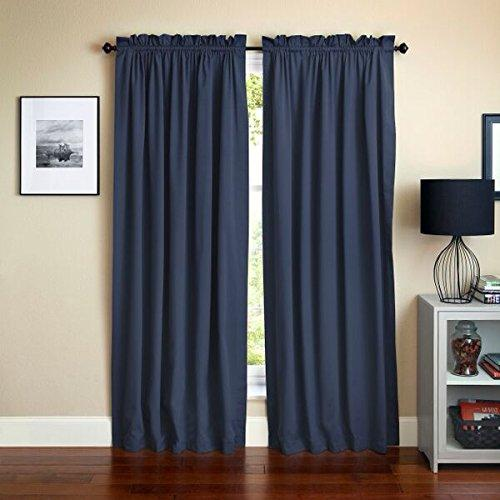 Blazing Needles 84-inch by 52-inch Twill Insulated Blackout Two-Tone Reversible Curtain Panels (Set of 2)