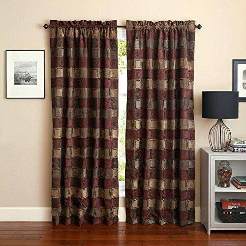 Blazing Needles 84-inch by 52-inch Patterned Jacquard Chenille Curtain Panels (Set of 2)