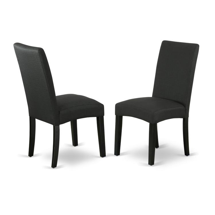 East West Furniture DRP1T24  Parson Chair with Black Finish Leg and Linen fabric- Black Color