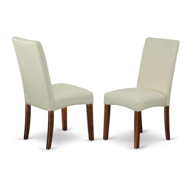 East West Furniture DRP3T01 Parson Chair with Mahogany Finish Leg and Linen fabric- Cream Color
