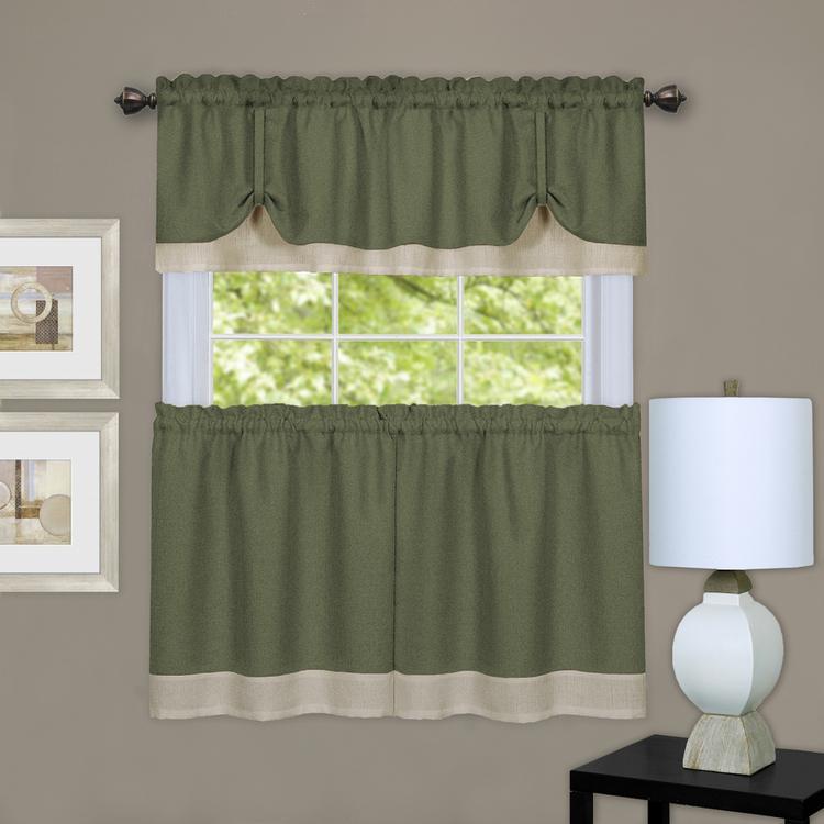 Achim Darcy Window Curtain Tier and Valance Set 58x24/58x14 - Green/Camel