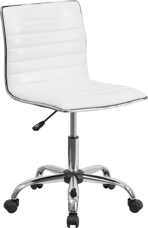 Low Back Designer Armless Ribbed Swivel Task Chair