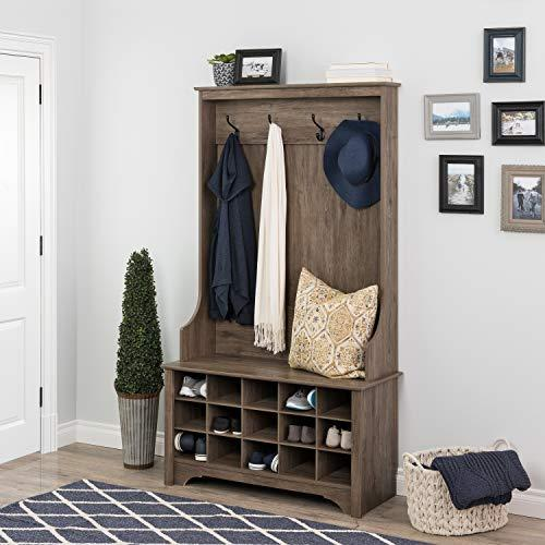 Prepac Hall Tree with Shoe Storage, Drifted Gray