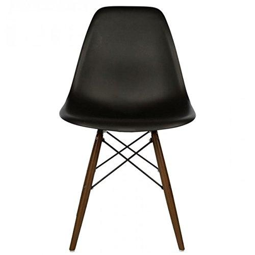 CozyBlock Eames Style DSW Slope Black Molded Plastic Dining Side Chair with Beech Wood Eiffel Legs - Mid-Century Modern Furniture Ideal for Home, Cafe, Office