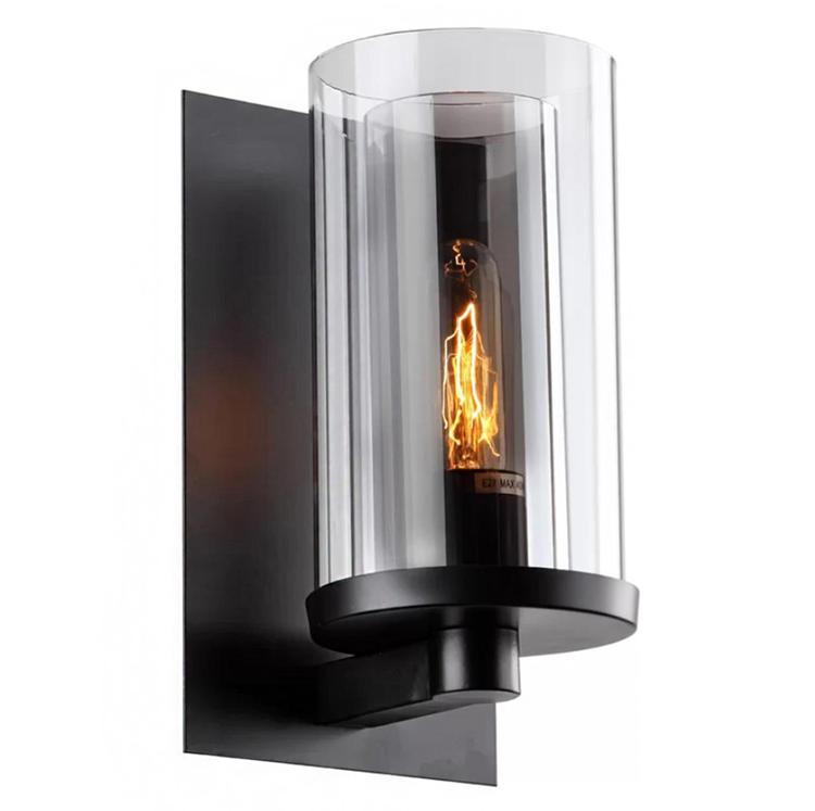 Bethel a Black Frame Wall Sconce with a Clear Glass Cylinder Shade Cover