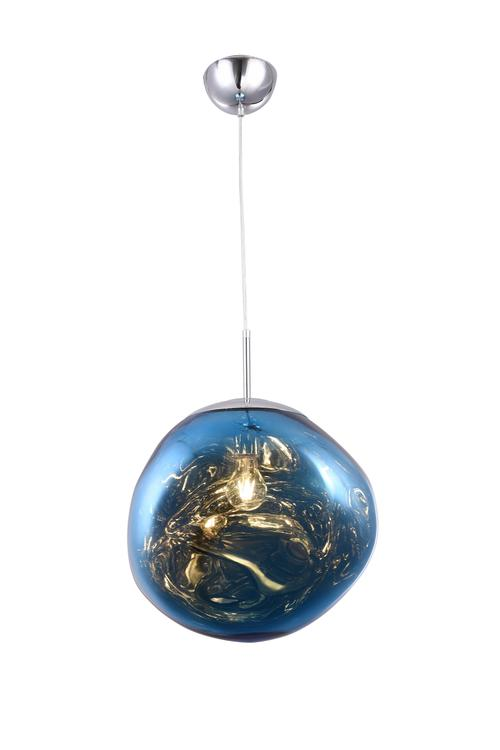 Bethel a Single Pendant Blue Acrylic Orb Light with Chrome Hardware