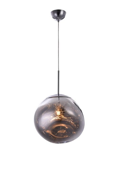 Bethel a Single Pendant Chrome Acrylic Orb Light with Chrome Hardware