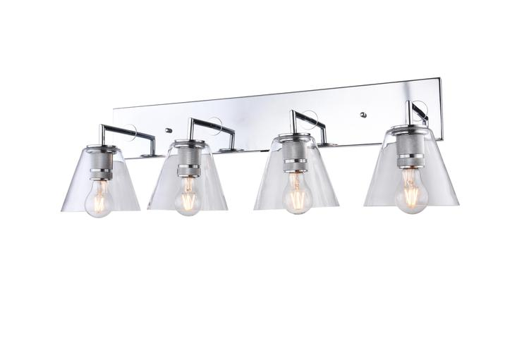 Bethel a Chrome Frame Four Light Wall Sconce with Clear Glass Cone Shades