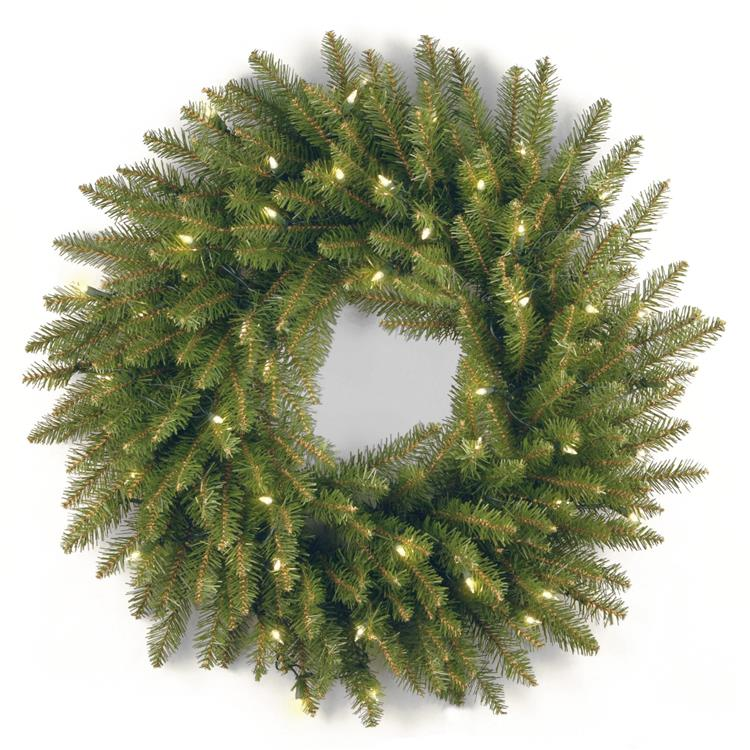 National Tree 24-Inch Dunhill Fir Wreath with 50 Clear Lights-UL