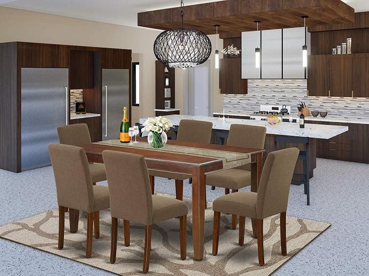East West Furniture DUAB7-MAH-18 7Pc Rectangular 60 Inch Dining Table And Six Parson Chair With Mahogany Leg And Linen Fabric Coffee