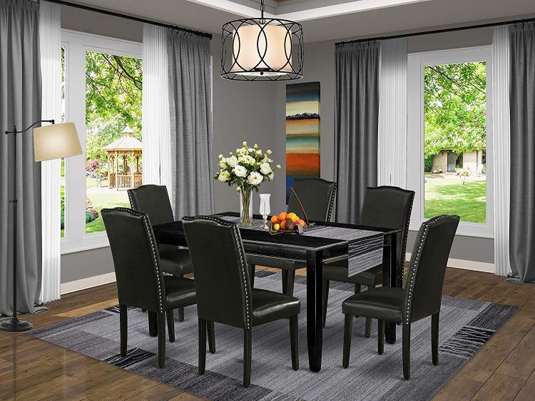 East West Furniture DUEN7-BLK-69 7Pc Rectangular 60 Inch Dining Table And Six Parson Chair With Black Leg And Pu Leather Color Black