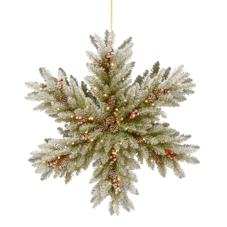 National Tree 32  inch  Snowy Dunhill Fir Double-Sided Snowflake with Battery Operated LED Lights [Item # DUF3-303-32SB-1]