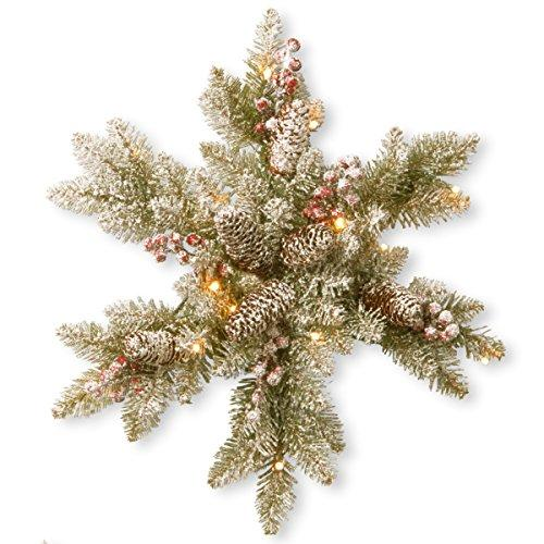 National Tree Snowy Dunhill Fir Snowflake with Battery Operated Warm White LED Lights