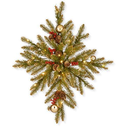 Glittery Gold Dunhill Fir Bethlehem Star with Battery Operated LED Lights